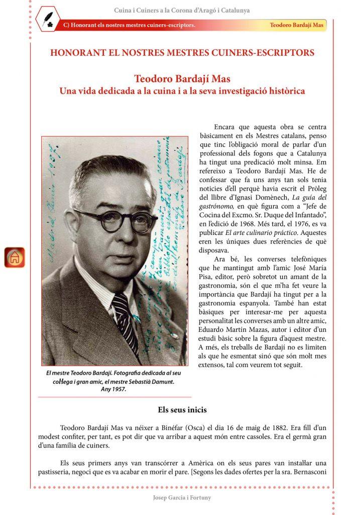 """Cuina i Cuiners a la Corona d'Aragó i Catalunya - Volum II - """"Honorant els Mestres cuiners-escriptors"""": Teodoro Bardají"""