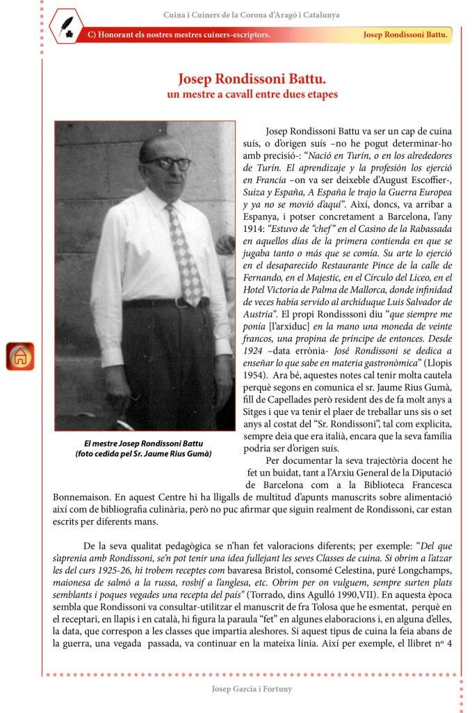 """Cuina i Cuiners a la Corona d'Aragó i Catalunya - Volum II - """"Honorant els Mestres cuiners-escriptors"""": Josep Rondissoni Battu"""