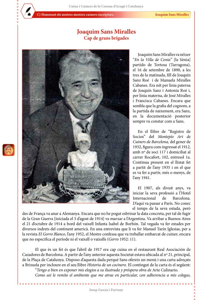 """Cuina i Cuiners a la Corona d'Aragó i Catalunya - Volum II - """"Honorant els Mestres cuiners-escriptors"""": Joaquim Sans Miralles"""