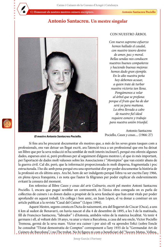 """Cuina i Cuiners a la Corona d'Aragó i Catalunya - Volum II - """"Honorant els Mestres cuiners-escriptors"""": Antonio Santacreu Pociello"""