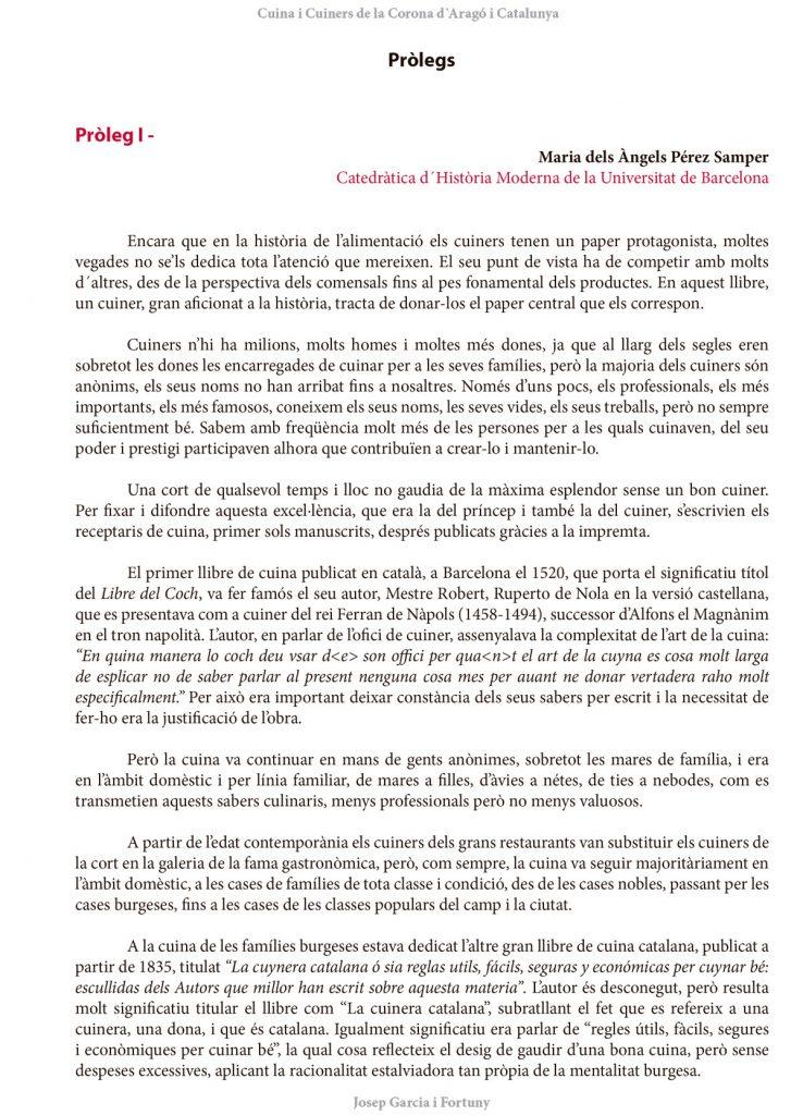 Pròleg I Maria dels Àngels Pérez Samper Cuina i Cuiners a la Corona d'Aragó i Catalunya