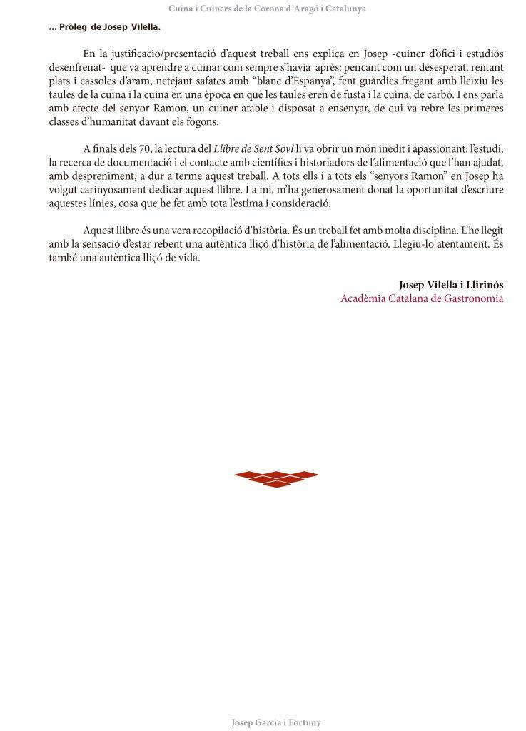 Pròleg II: Josep Vilella i Llirinós / Cuina i Cuiners a la Corona d'Aragó i Catalunya