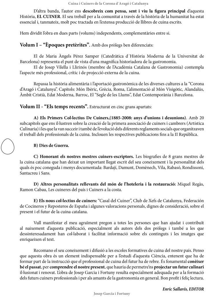 Davantal de l'editor del llibre Cuina i Cuiners a la Corona d'Aragó i Catalunya - volum I