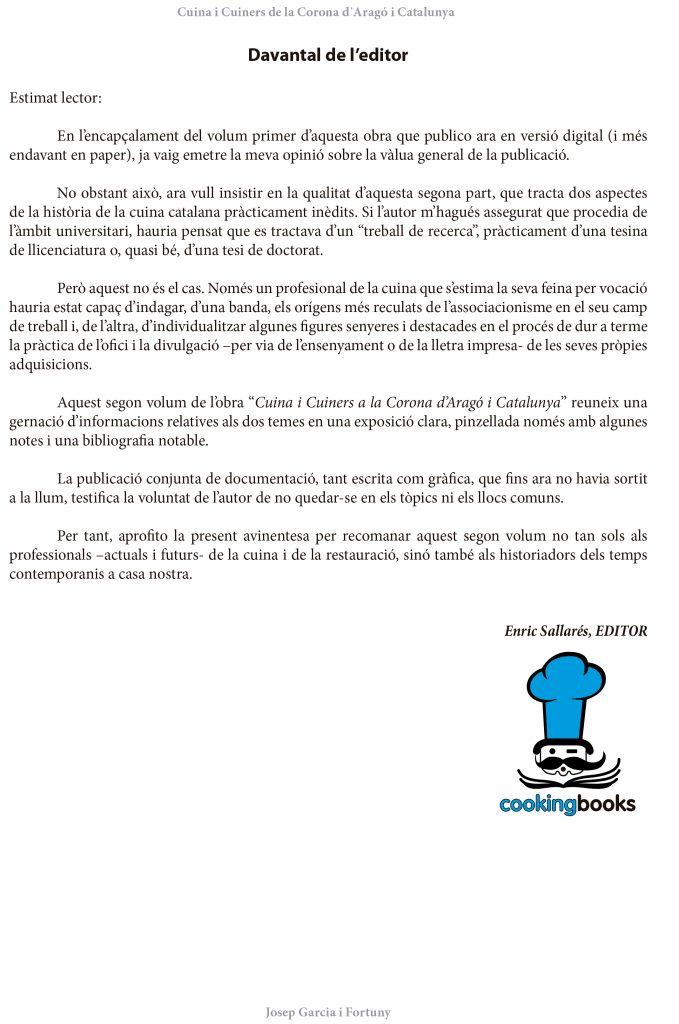 Davantal de l'editor del llibre Cuina i Cuiners a la Corona d'Aragó i Catalunya - volum II